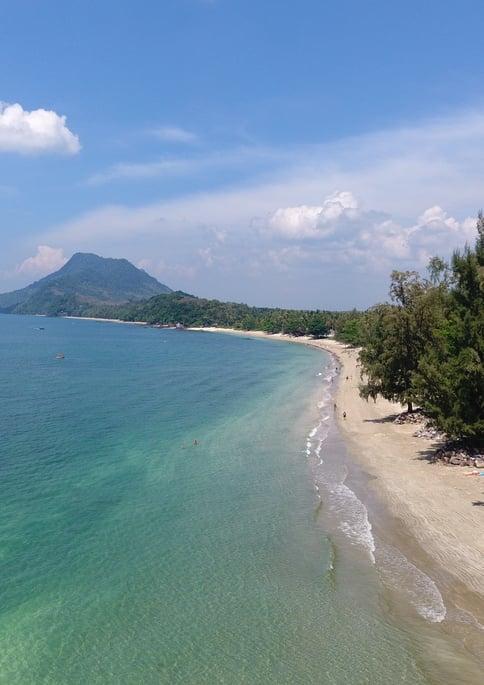 Drone beach mountain view